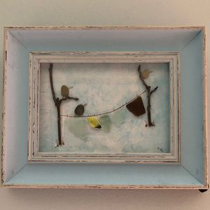 Other - 8 x 10 Distressed frame with sea glass and rocks